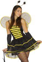 Kostüm Biene 5-teilig bestehend aus Kleid, Handschuhe, Flügel, Kopfschmuck und Tasche - 100% Polyester