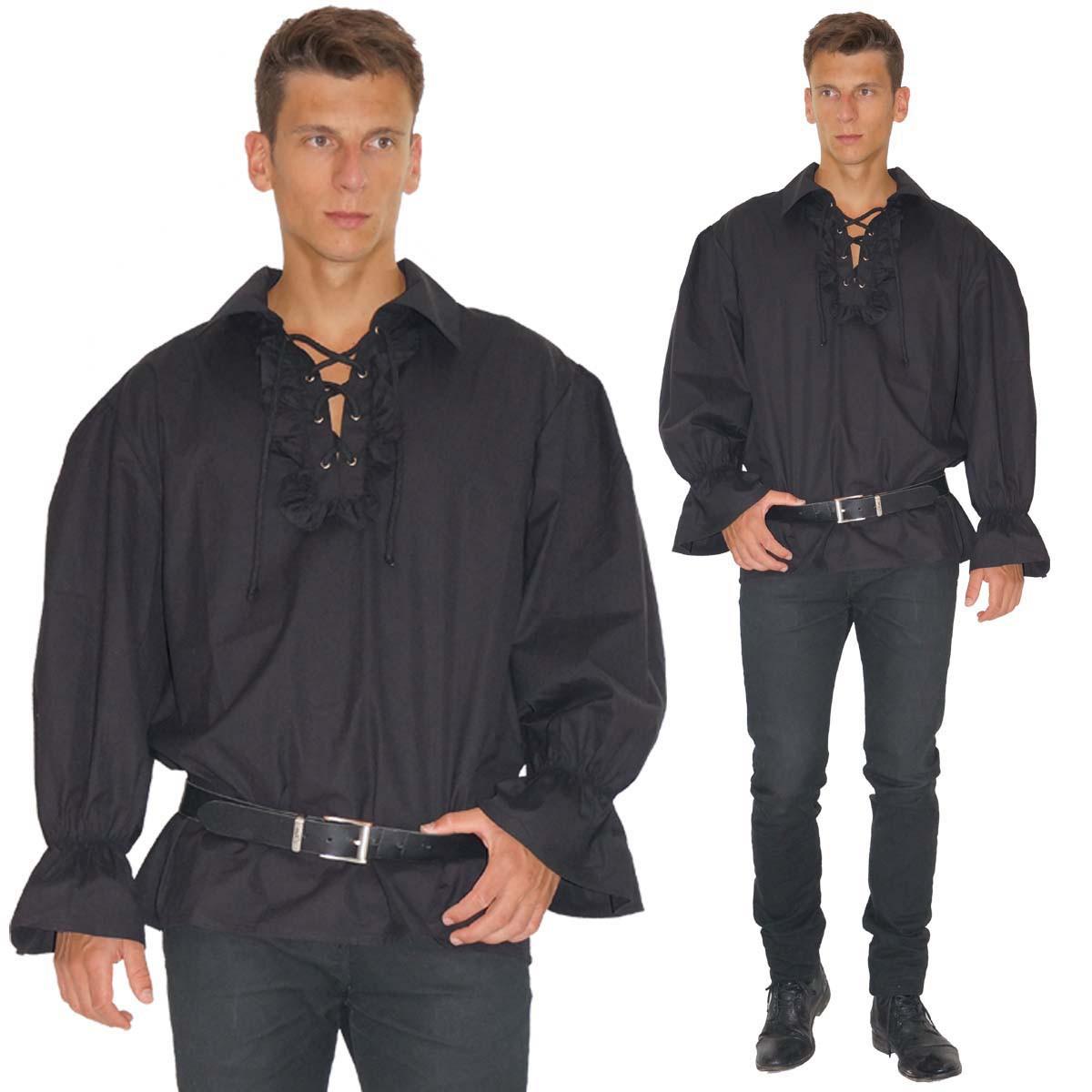 Piratenhemd Rüschenhemd Mittelalter Hemd Baumwolle schwarz