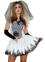 Zombie Braut Halloweenkostüm mit Armstulpen
