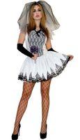 Zombie Braut Halloweenkostüm mit Armstulpen Bild 2