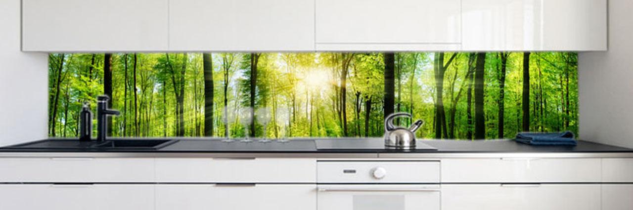 Küchenrückwand Waldlichtung Premium Hart-PVC 0,4 mm selbstklebend - Direkt auf die Fliesen