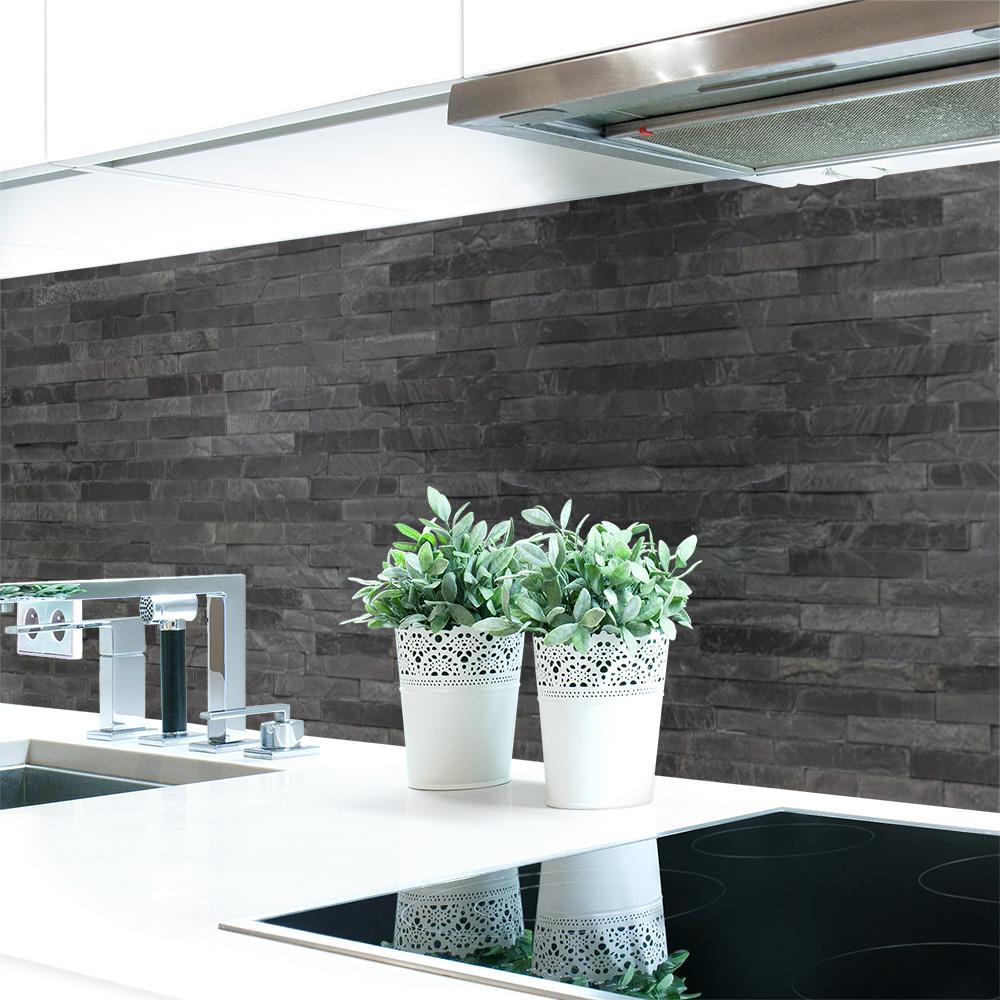 k chenr ckwand steinwand dunkel premium hart pvc 0 4 mm selbstklebend ebay. Black Bedroom Furniture Sets. Home Design Ideas