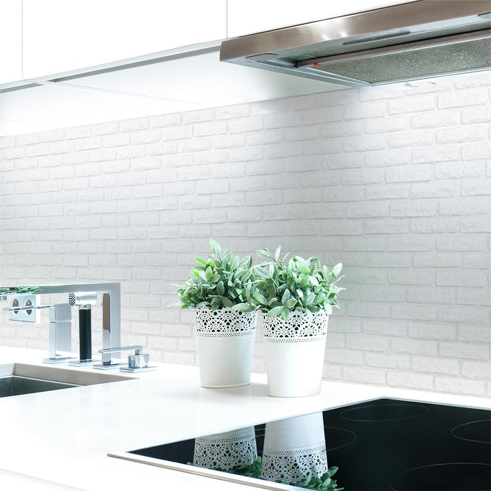 Kuchenruckwand Ziegelwand Weiss Premium Hart Pvc 0 4 Mm Selbstklebend