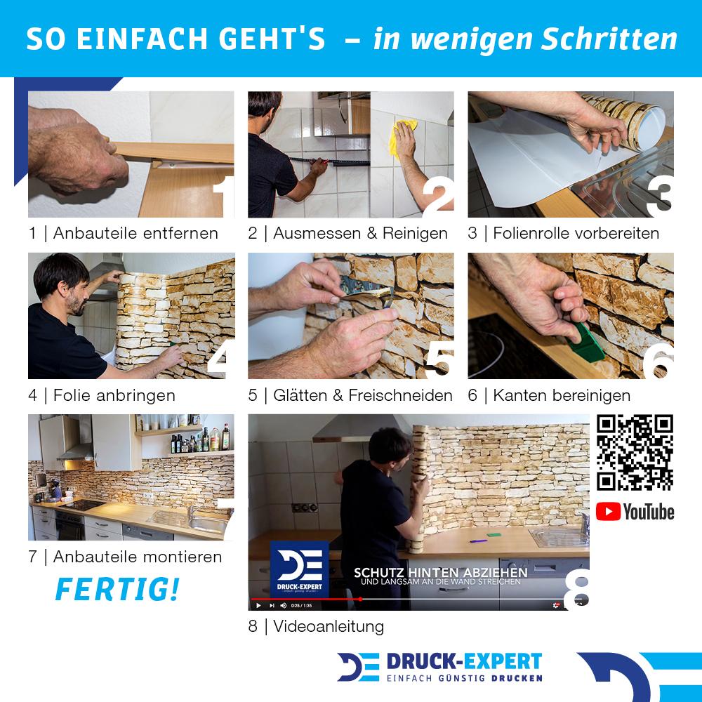 Kuchenruckwand Raufaser Anthrazit Premium Hart Pvc 0 4 Mm Selbstklebend Direkt Auf Die Fliesen Motivart Kuchenruckwande