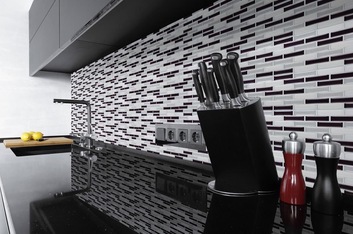 k chenr ckwand anthrazit silber 3d mosaik kacheln selbstklebend direkt auf die fliesen. Black Bedroom Furniture Sets. Home Design Ideas