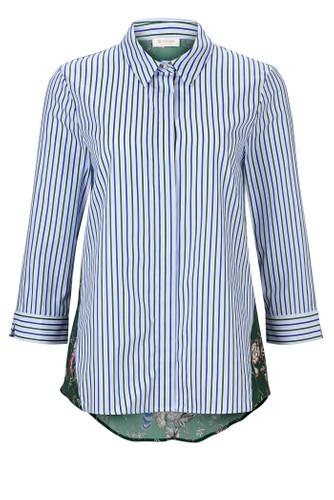 Rich & Royal Streifen Bluse mit Blumenprint Materialmix