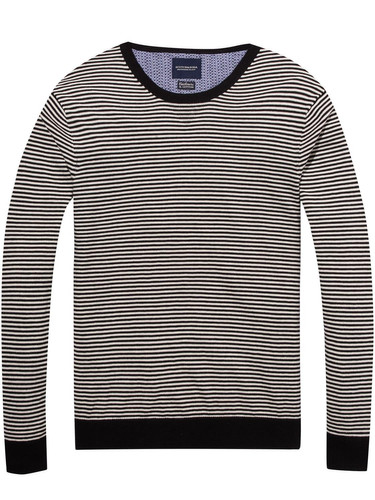 Scotch & Soda Herren Pullover Ams Blauw Crew Neck Knit in Cotton Cashmere Quality