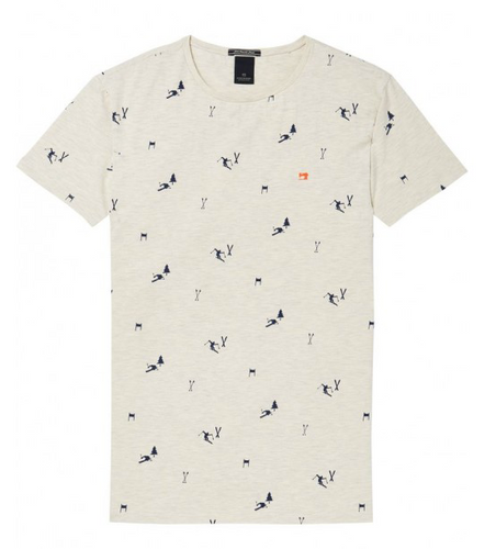 Scotch & Soda Rundhals T-Shirt mit Retro Ski Druck