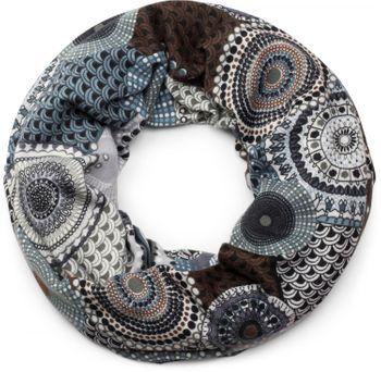styleBREAKER Feinstrick Loop Schlauchschal mit Ethno Punkte African Style Muster, Schal, Damen 01017042 – Bild 1