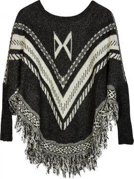 styleBREAKER Feinstrick Poncho mit Azteken Muster, Fransen und Ärmeln, Rundhals, Damen 08010032 – Bild 2