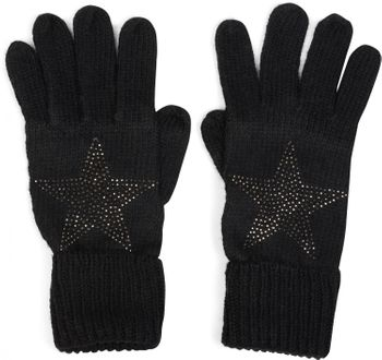styleBREAKER Damen Handschuhe mit Strass Nieten Stern Applikation und doppeltem Bund, warme Strickhandschuhe, Fingerhandschuhe 09010008 – Bild 2
