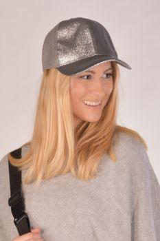styleBREAKER Damen Basecap mit Glitzer in weicher Veloursleder Optik, Baseball Cap, 6-Panel Cap, verstellbar 04023050