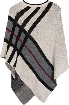 styleBREAKER Feinstrick Poncho mit farblich abgesetzten Streifen, Rundhals, gestreift, Oversize Look, Damen 08010041 – Bild 2
