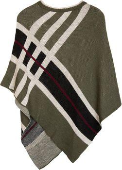 styleBREAKER Feinstrick Poncho mit farblich abgesetzten Streifen, Rundhals, gestreift, Oversize Look, Damen 08010041 – Bild 7