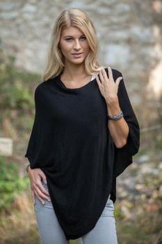 styleBREAKER Damen Feinstrick Poncho in Unifarben, leicht asymmetrischer Schnitt, Ärmellos, Rundhals 08010042 – Bild 20