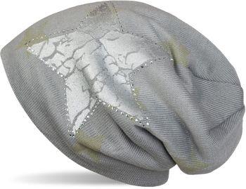 styleBREAKER Beanie Mütze mit All Over Stern Muster, Vintage Stern Print, Strass Rand und sehr weichem Innenfutter, Unisex 04024097 – Bild 6
