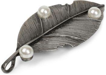 styleBREAKER Blatt Magnet Schmuck Anhänger mit Perlen für Schals, Tücher oder Ponchos, Brosche, Damen 05050031 – Bild 2