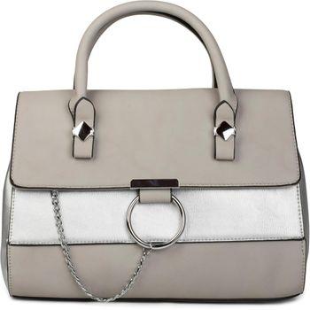styleBREAKER Satchel Henkeltasche im 2-Tone Design mit Metall Ring und Kette, Handtasche, Tasche, Damen 02012125 – Bild 3