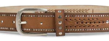styleBREAKER Nietengürtel mit Fadenmuster und kleinen Flachnieten, Vintage Nieten Gürtel, kürzbar, Unisex 03010077 – Bild 9