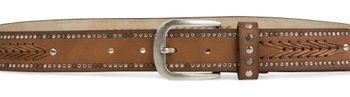styleBREAKER Nietengürtel mit Fadenmuster und kleinen Flachnieten, Vintage Nieten Gürtel, kürzbar, Unisex 03010077 – Bild 10