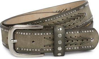 styleBREAKER Nietengürtel mit Fadenmuster und kleinen Flachnieten, Vintage Nieten Gürtel, kürzbar, Unisex 03010077 – Bild 8