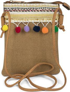 styleBREAKER Minibag Umhängetasche mit Bommel und bunter Schmuck Bordüre im Ethno Style, Schultertasche, Tasche, Damen 02012128 – Bild 3