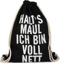 styleBREAKER Statement Turnbeutel mit 'HALT´S MAUL ICH BIN VOLL NETT' Aufdruck, Rucksack, Sportbeutel, Beutel, Unisex 02012140 – Bild 2