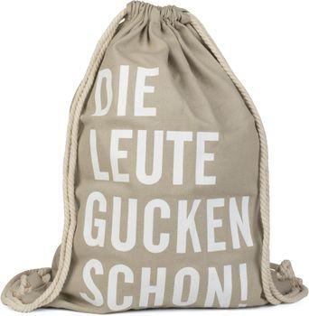 styleBREAKER Statement Turnbeutel mit 'DIE LEUTE GUCKEN SCHON!' Aufdruck, Rucksack, Sportbeutel, Beutel, Unisex 02012141 – Bild 4