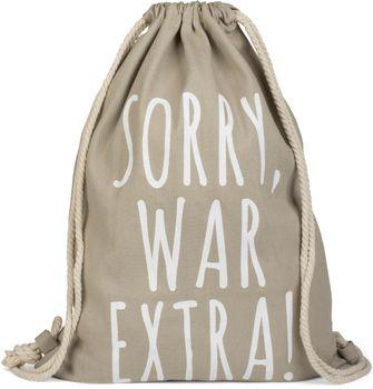 styleBREAKER Statement Turnbeutel mit 'SORRY, WAR EXTRA!' Aufdruck, Rucksack, Sportbeutel, Beutel, Unisex 02012142 – Bild 4