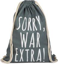 styleBREAKER Statement Turnbeutel mit 'SORRY, WAR EXTRA!' Aufdruck, Rucksack, Sportbeutel, Beutel, Unisex 02012142 – Bild 2