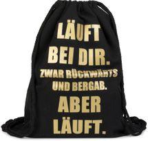 styleBREAKER Statement Turnbeutel mit LÄUFT BEI DIR Aufdruck, Rucksack, Sportbeutel, Beutel, Unisex 02012145 – Bild 1