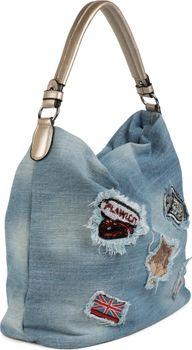 styleBREAKER Jeans Beuteltasche mit Patches im Strass und Pailletten Look, Shopper Handtasche, Schultertasche, Tasche, Damen 02012150 – Bild 18