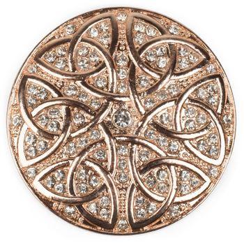 styleBREAKER runder Magnet Schmuck Anhänger Strass besetzt mit keltischem Knoten Ornament für Schals, Tücher oder Ponchos, Brosche, Damen 05050038 – Bild 2