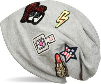 styleBREAKER Beanie Mütze mit coolen Patches, Lipstick, USA Stern, Blitz, Pailletten Herz, Slouch Longbeanie, Unisex 04024101 – Bild 5