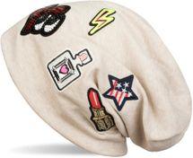 styleBREAKER Beanie Mütze mit coolen Patches, Lipstick, USA Stern, Blitz, Pailletten Herz, Slouch Longbeanie, Unisex 04024101 – Bild 7