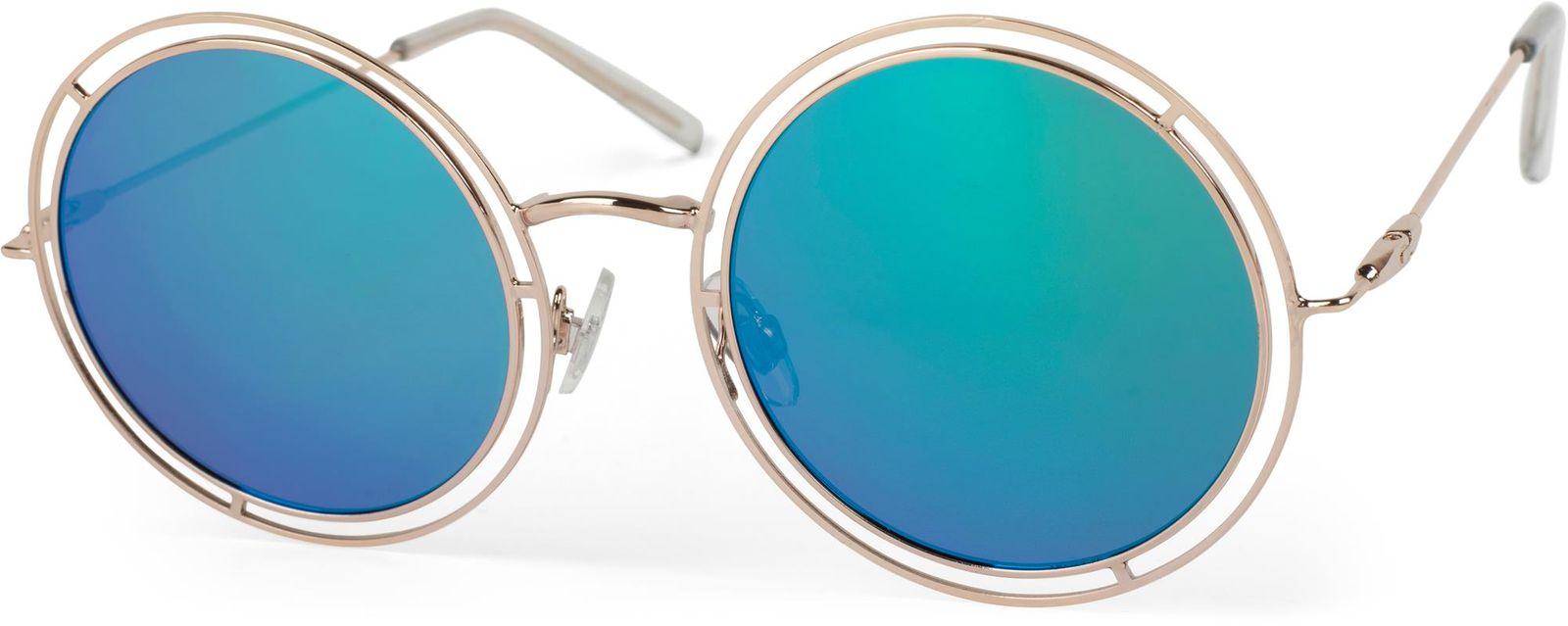 Sonnenbrille Mit Runden Gläsern & Doppeltem Rahmen 1124