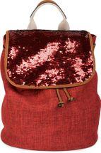 styleBREAKER Rucksack mit Pailletten besetztem Überschlag, Leinen Optik, Tasche, Damen 02012155 – Bild 5
