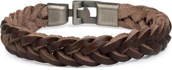 styleBREAKER Leder Armband in Flecht-Optik mit Bajonettverschluss, Lederarmband, Armschmuck, Unisex 05040095 – Bild 1