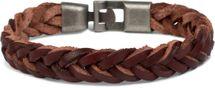 styleBREAKER Leder Armband in Flecht-Optik mit Bajonettverschluss, Lederarmband, Armschmuck, Unisex 05040095 – Bild 3