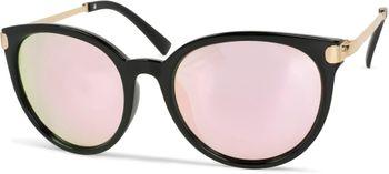 styleBREAKER Sonnenbrille mit Katzenaugen Cat Eye Gläsern und Metall Bügel, runde Glasform, Damen 09020073 – Bild 2