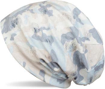 styleBREAKER Beanie Mütze mit Camouflage Muster im Destroyed Vintage used Look, Slouch Longbeanie, Unisex 04024102 – Bild 7