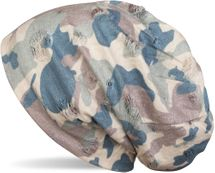 styleBREAKER Beanie Mütze mit Camouflage Muster im Destroyed Vintage used Look, Slouch Longbeanie, Unisex 04024102 – Bild 10