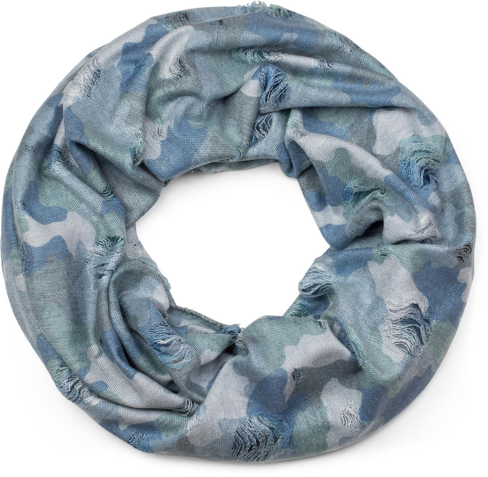 a41ddad1a52f56 styleBREAKER Loop Schal mit Camouflage Muster im Destroyed Vintage used  Look, Schlauchschal, Tuch,