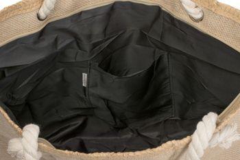styleBREAKER Strandtasche XXL mit Stern Print in Bast Optik und Reißverschluss, großer Shopper, Badetasche, Damen 02012166 – Bild 3