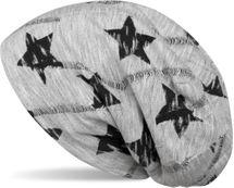 styleBREAKER Beanie Mütze mit Sterne Print, Melange Optik und Destroyed Vintage Look, Slouch Longbeanie, Unisex 04024110 – Bild 1