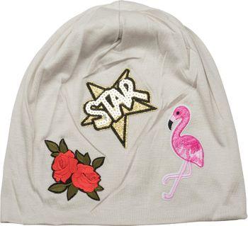 styleBREAKER Beanie Mütze mit Patches, Flamingo, Rosen, Star Stern Pailletten Patch, Slouch Longbeanie, Unisex 04024114 – Bild 14