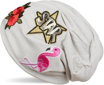 styleBREAKER Beanie Mütze mit Patches, Flamingo, Rosen, Star Stern Pailletten Patch, Slouch Longbeanie, Unisex 04024114 – Bild 5