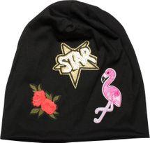 styleBREAKER Beanie Mütze mit Patches, Flamingo, Rosen, Star Stern Pailletten Patch, Slouch Longbeanie, Unisex 04024114 – Bild 11