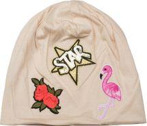 styleBREAKER Beanie Mütze mit Patches, Flamingo, Rosen, Star Stern Pailletten Patch, Slouch Longbeanie, Unisex 04024114 – Bild 15