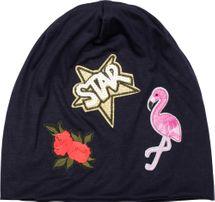 styleBREAKER Beanie Mütze mit Patches, Flamingo, Rosen, Star Stern Pailletten Patch, Slouch Longbeanie, Unisex 04024114 – Bild 17